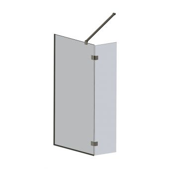 Abacus M Series Wet Room screen with return panel - Brushed Nickel Fixings