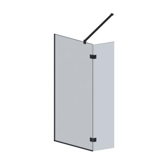 Abacus M Series Wet Room screen with return panel - Matt Black Fixings