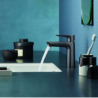 hansgrohe Talis E Single Lever Basin Mixer Tap 110 with CoolStart and pop up waste in Brushed Black Chrome