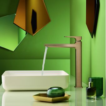 hansgrohe Metropol Single Lever Tall Basin Mixer Tap 260 with push open waste in Brushed Bronze