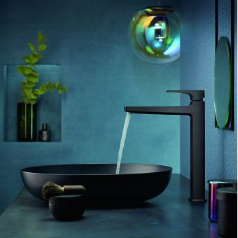 hansgrohe Metropol Single Lever Tall Basin Mixer Tap 260 with push open waste in Brushed Black Chrome