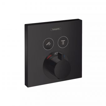 hansgrohe ShowerSelect Thermostatic Mixer for Concealed Installation, for two outlets in Matt Black