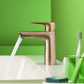 hansgrohe Talis E Single Lever Basin Mixer Tap 110 with CoolStart and pop up waste in Brushed Bronze