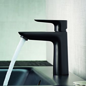 hansgrohe Talis E Single Lever Basin Mixer Tap 110 with CoolStart and pop up waste in Matt Black - 71713670