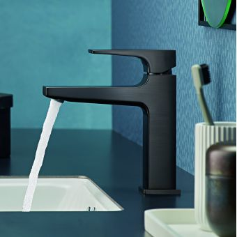 hansgrohe Metropol Single Lever Basin Mixer Tap 110 with push open waste in Brushed Black Chrome