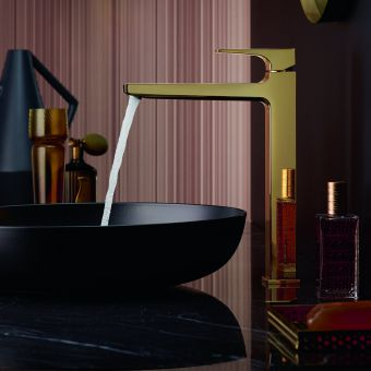 hansgrohe Metropol Single Lever Tall Basin Mixer Tap 260 with push open waste in Polished Gold Optic