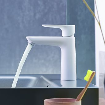 hansgrohe Talis E Single Lever Basin Mixer Tap 110 with CoolStart and pop up waste in Matt White