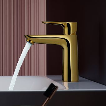 hansgrohe Talis E Single Lever Basin Mixer Tap 110 with CoolStart and pop up waste in Polished Gold Optic