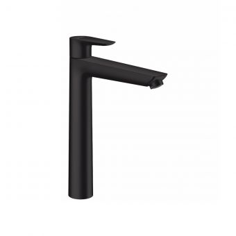 hansgrohe Talis E Single Lever Basin Mixer Tap 250 with push open waste in Matt Black