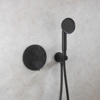 Crosswater MPRO Industrial Wall Outlet, Handset and Hose in Carbon Black
