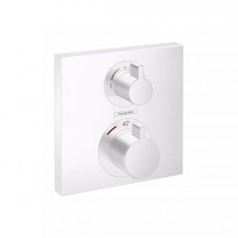 hansgrohe Ecostat Square Thermostatic Mixer for Concealed Installation, for two outlets in Matt White