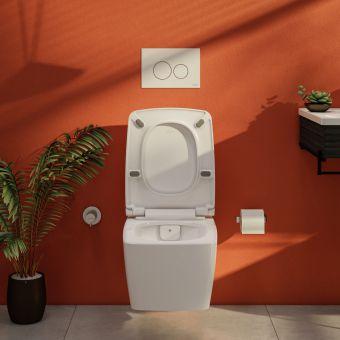 VitrA Aquacare M-Line Rimless Wall Hung Bidet Toilet with Wall Mounted Manual Valve - 76720036203