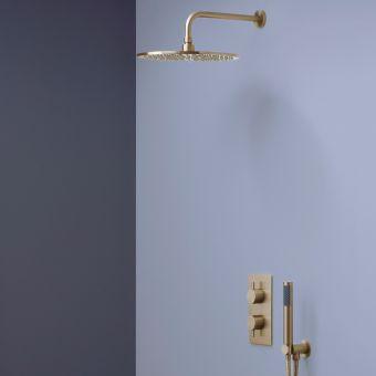 Crosswater MPRO Brushed Brass 2 Outlet 2 Handle Shower Bundle - GTLPRO1510F