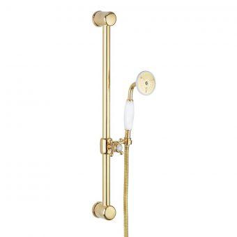 Crosswater Belgravia 600mm Slide Rail Handset Kit in Unlacquered Brass