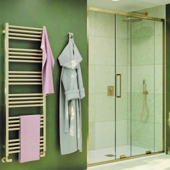 Crosswater Optix 10 Brushed Brass Single Sliding Shower Door