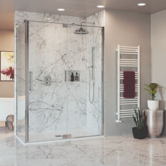 Crosswater Optix 10 Polished Stainless Steel Pivot Shower Door with Inline Panel