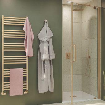 Crosswater Optix 10 Brushed Brass Pivot Shower Door