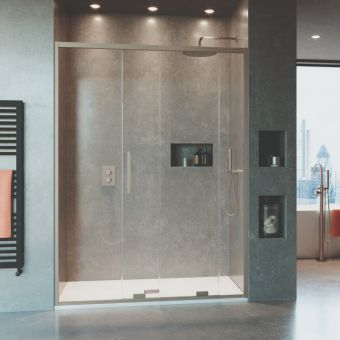 Crosswater Optix 10 Brushed Stainless Steel Single Sliding Shower Door