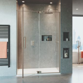 Crosswater Optix 10 Brushed Stainless Steel Pivot Shower Door with Inline Panel