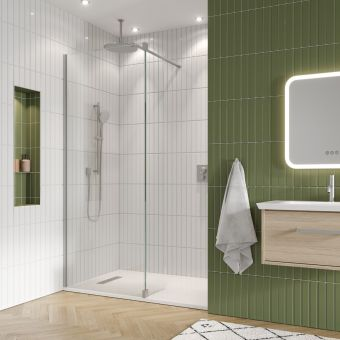 Gallery 10 Brushed Stainless Steel Walk In Recess Shower Enclosure