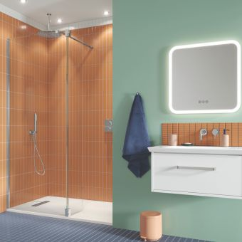 Crosswater Gallery 10 Polished Stainless Steel Walk In Recess Shower Enclosure