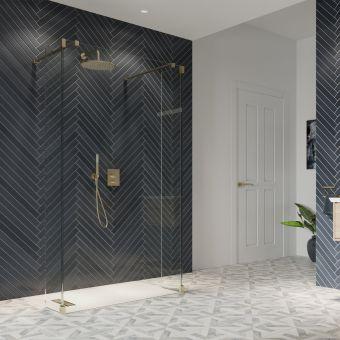 Crosswater Gallery 10 Brushed Brass Walk Through Wetroom Panel