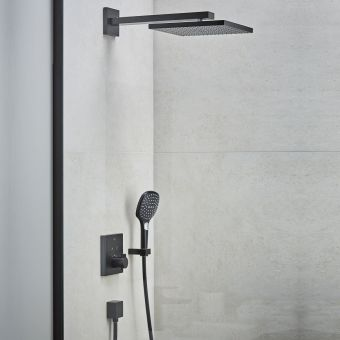 hansgrohe ShowerSelect Square Shower Set with 300 Overhead and Handshower in Matt Black