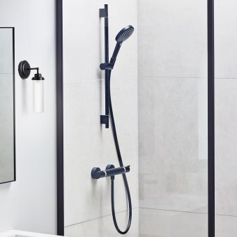 hansgrohe Ecostat Comfort Shower Set with Rail and Handset in Matt Black