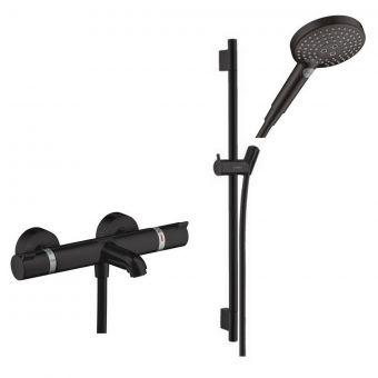 hansgrohe Ecostat Comfort Bath Spout Shower Set with Rail and Handset in Matt Black