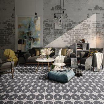 Origins Black Compass Star Pattern Tile 20cm x 20cm - SLT183