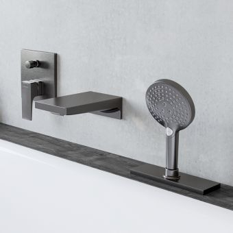 hansgrohe Metropol Waterfall Bath Filler and Shower Set in Brushed Black Chrome