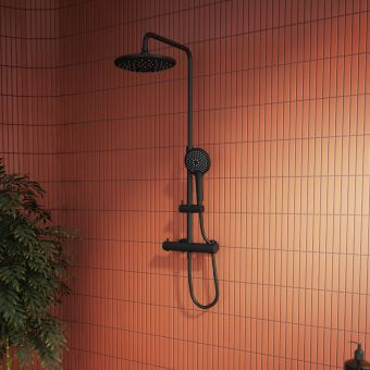 VitrA Aquaheat Bliss 240 Thermostatic Shower Column Matt Black