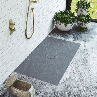 Matki Slate Floor Shower Tray in Anthracite Grey