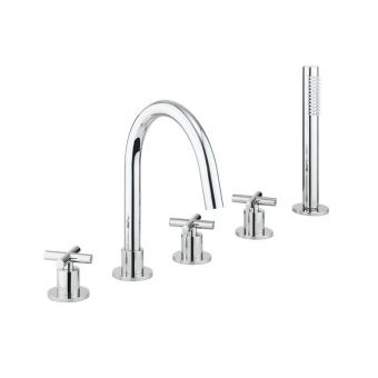 Crosswater MPRO Bath 5 Hole Set with Crosshead in Chrome