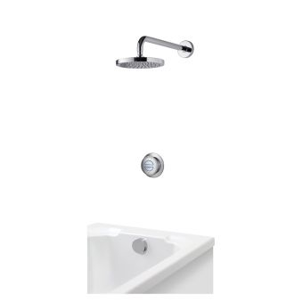 Aqualisa Rise Digital Concealed Valve and Diverter with Wall Fixed Head and Bath Filler