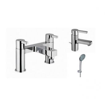 Lineare Basin Monobloc and Bath Shower Mixer with Euphoria Shower Kit