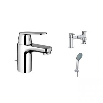 Grohe Eurosmart Cosmo Basin and Bath Shower Mixer with Euphoria Shower Kit