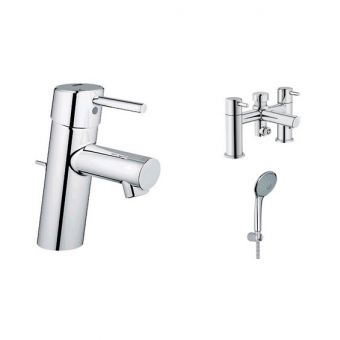 Grohe Concetto Basin and Bath Shower Mixer with Euphoria Shower Kit