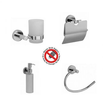 Never Drill Again Hoom 4 Piece Bathroom Accessory Package