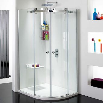 Phoenix Frameless Offset Double Door Quadrant Shower Enclosure