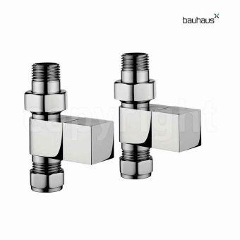 Bauhaus Square Straight Radiator Valve Set