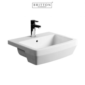 Britton Bathrooms Cube S20 Semi-recessed Basin 55cm
