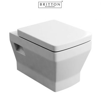 Britton Bathrooms Cube S20 Wall Hung Toilet with Soft Close Seat