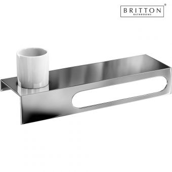 Britton Stainless Steel Shelf with Towel Rail and Tumbler