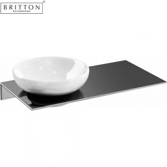 Britton Soap Dish and Offset Stainless Steel Shelf