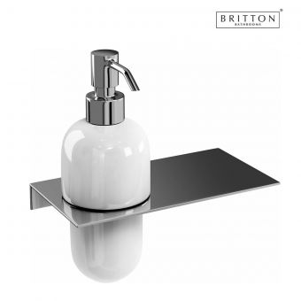 Britton Offset Soap Dispenser and Stainless Steel Shelf