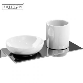 Britton Double Ceramic Soap Dish amd Tumbler Set