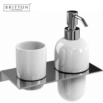 Britton Ceramic Tumbler and Soap Dispenser Set