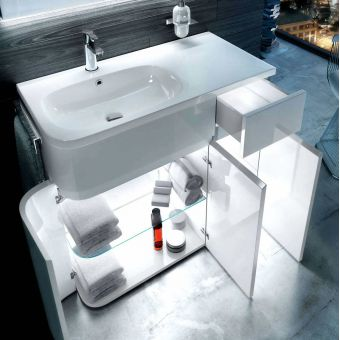 Aqua Cabinets Arc D450 Double Door Base Unit with Basin