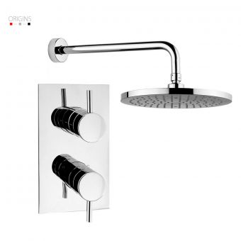 Origins Fusion Thermostatic Shower Valve with 2 Way Diverter and Fixed Shower Head
